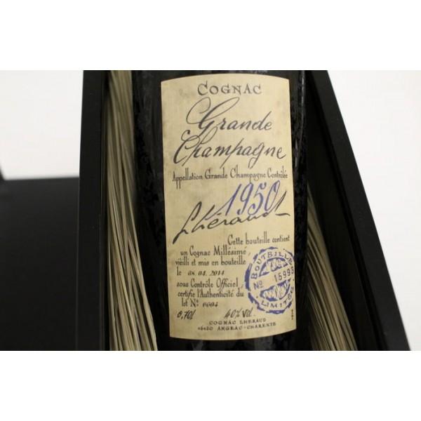LHERAUD COGNAC GRANDE CHAMPAGNE 1950 I GL. FLASKE M/CERTIFIKAT OG ORG. KASSE-31