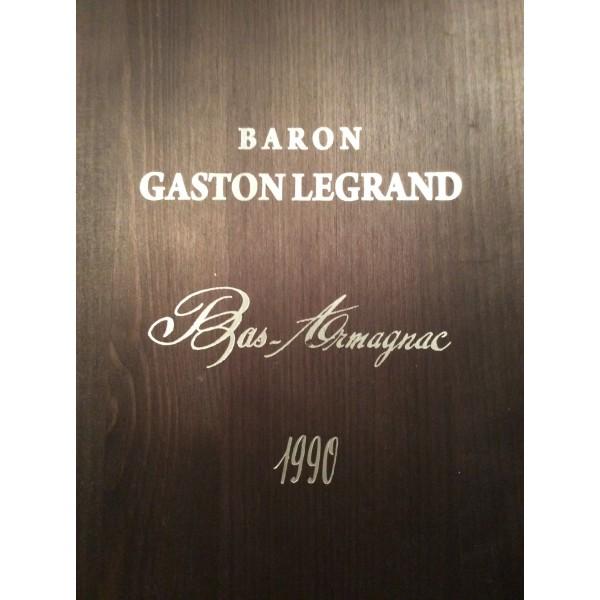 BARON GASTON LEGRAND ARMAGNAC 1990 i 5 LITERS FLASKE OG I ORG: TRÆKASSE-32