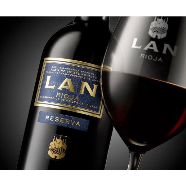 Bodega Lan reserva DOC Rioja 2 fl. + 2 glas med monogram i flot gaveæske fra vingården-32