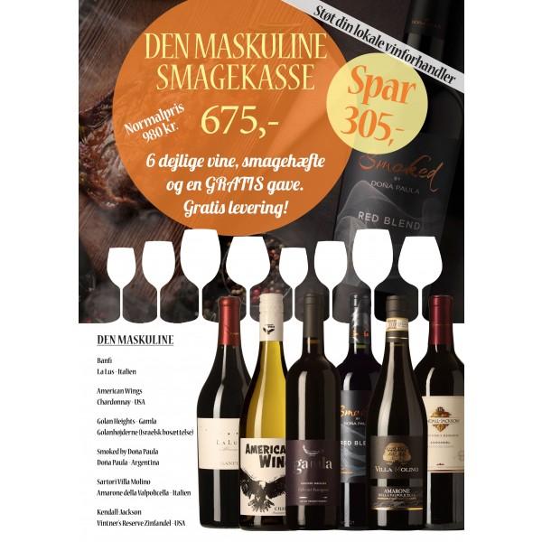 """""""Den Maskuline Smagekasse"""" M/ 6 vine, smagehæfte og overraskelse GRATIS LEVERING-31"""