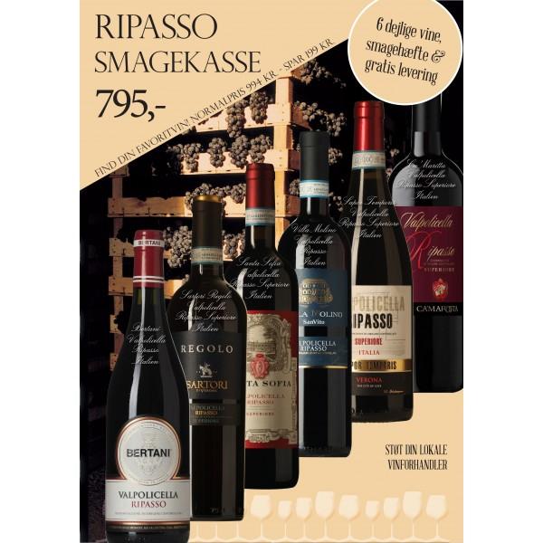 """Ripasso smagekasse"" M/ 6 vine + smagehæfte GRATIS LEVERING-31"