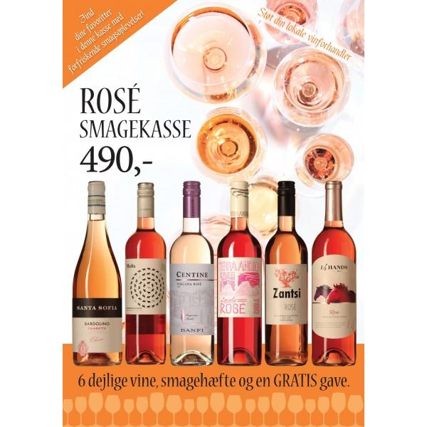 """""""Rosévins-smagekasse"""" M/ 6 vine, smagehæfte og overraskelse GRATIS LEVERING-31"""
