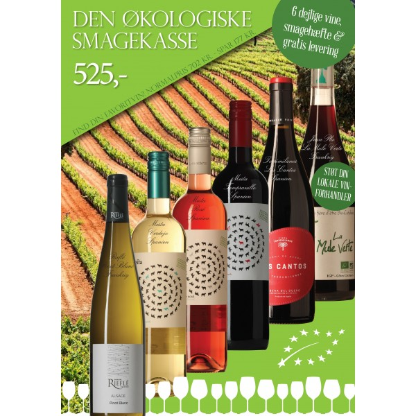 """""""Økologisk smagekasse"""" M/ 6 vine + smagehæfte GRATIS LEVERING-31"""