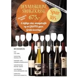 """""""Den Maskuline Smagekasse"""" M/ 6 vine, smagehæfte og overraskelse GRATIS LEVERING-20"""