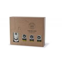 Gin med 3 tonics i flot bæredygtig gavekasse fra Møllerup Gods