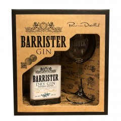 BARRISTER DRY GIN - RUSLAND - Gaveæske med gin + org. ginglas