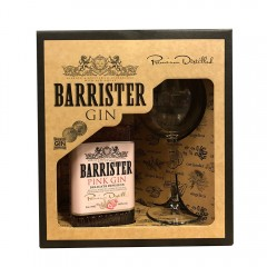 BARRISTER PINK GIN - RUSLAND - Gaveæske med gin + org. ginglas