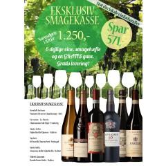 """""""Den Eksklusive Smagekasse"""" - M/ 6 vine, smagehæfte og overraskelse - GRATIS LEVERING"""