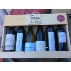 Øko-vine i trækasse m/ 5 til 6 vine