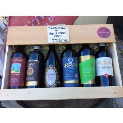 Italienske vine i trækasse m/ 5 til 6 vine