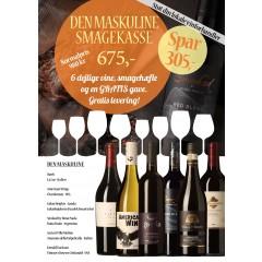 """""""Den Maskuline Smagekasse"""" - M/ 6 vine, smagehæfte og overraskelse - GRATIS LEVERING"""