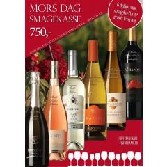 """""""Mors dag smagekasse"""" - M/ 6 vine + smagehæfte - GRATIS LEVERING"""